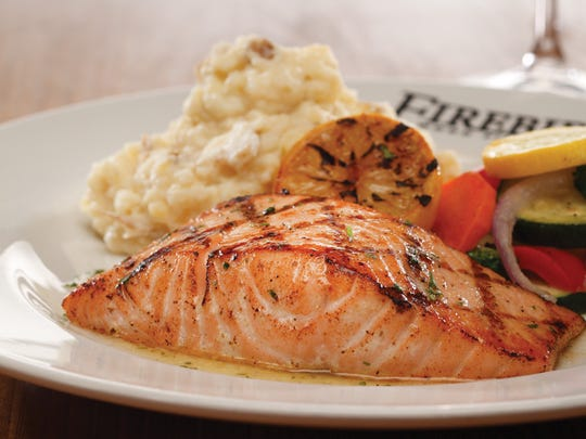 Wood-grilled salmon from Firebirds Wood Fired Grill