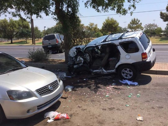 One of the SUVs from the crash