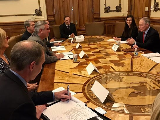 EPA Administrator Scott Pruitt meets with Indiana Governor Eric Holcomb, Indiana Lt. Governor Suzanne Crouch, and other state officials.
