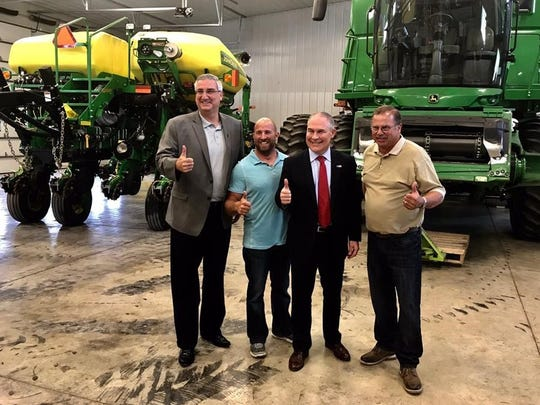 Indiana Governor Eric Holcomb (left) and EPA Administrator Scott Pruitt with Mike Starkey (right) and Jeff Starkey (second from left).