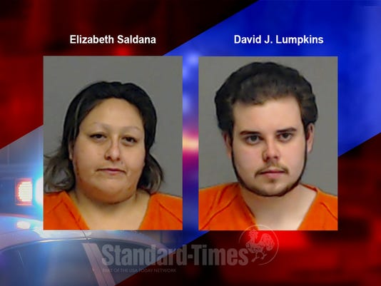 Mug shots of Elizabeth Saldana and David J. Lumpkins