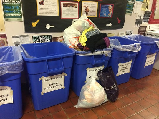 Collection bins are left in the residence halls for