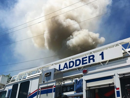SAFD Ladder 1 at the scene of a structure fire