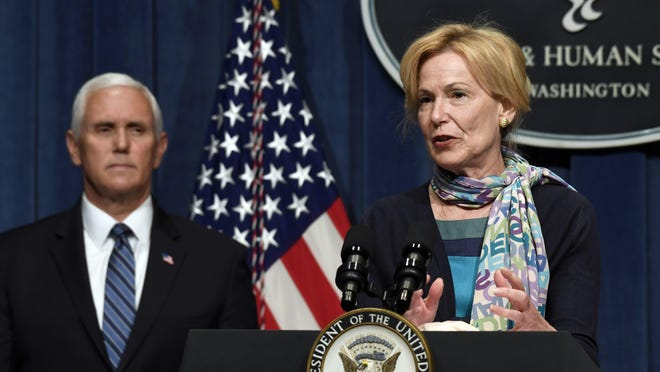 Vice President Mike Pence, left, listens as Dr. Deborah Birx, White House coronavirus response coordinator, right, speaks during a news conference with members of the Coronavirus task force at the Department of Health and Human Services in Washington, Friday, June 26, 2020.