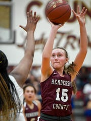 Henderson's Alyssa Dickson (15)j taking a jump shot as the Henderson County Lady Colonels play the Christian County Lady Colonels in the Second Region semifinals in Dixon Friday, March 2, 2018.