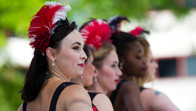 Madame Gigi's Outrageous French Cancan Dancers perform at Bastille Days on July 9, 2015.