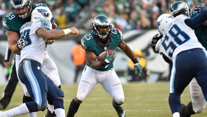 Eagles running back LeSean McCoy rushed for 130 yards in his team's 43-24 victory over the Titans on Sunday.