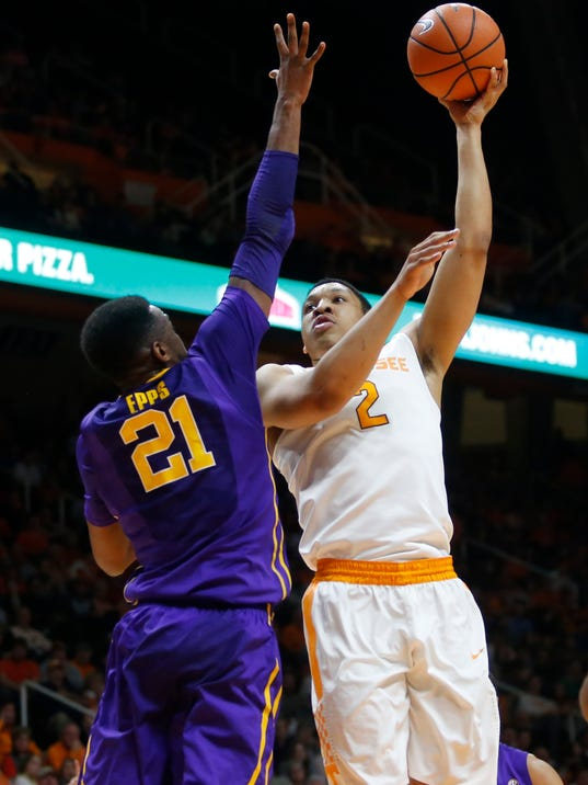 Tennessee forward Grant Williams (2) goes up for a basket beside LSU forward Aaron Epps (21) during the first half of an NCAA college basketball game Wednesday, Jan. 31, 2018, in Knoxville, Tenn. (AP Photo/Crystal LoGiudice)