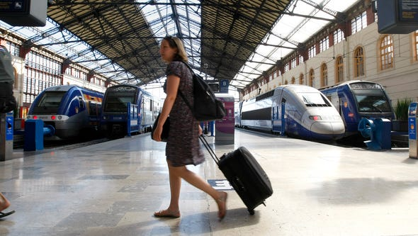A passenger walks in Saint-Charles railway station