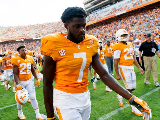 Tennessee wide receiver Brandon Johnson (7) walks off the field after the loss during the Tennessee Volunteers vs South Carolina Gamecocks game at Neyland Stadium in Knoxville, Tennessee on Saturday, October 14, 2017.