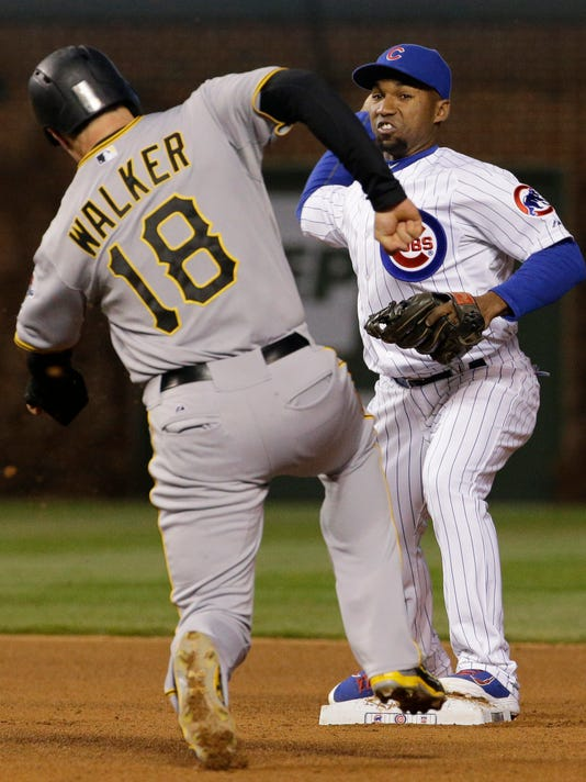 Chicago Cubs second baseman Jonathan Herrera, right, throws to first after forcing out Pittsburgh Pirates' Neil Walker at second base during the fourth inning of a baseball game in Chicago, Wednesday, April 29, 2015. Pittsburgh Pirates' Starling Marte was safe at first. (AP Photo/Nam Y. Huh)