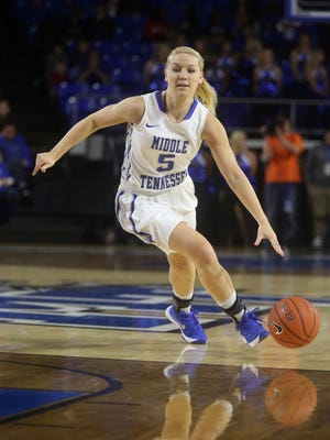 MTSU's Abbey Sissom (5) helped lead the way in Miami on Saturday.