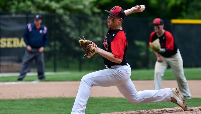 Pleasant senior Bryce Pytlarz delivers a pitch to Fairbanks during the Division III baseball district championship at Ohio Dominican. High school baseball will utilize pitch counts instead of innings pitched to determine a pitcher's availability next spring.