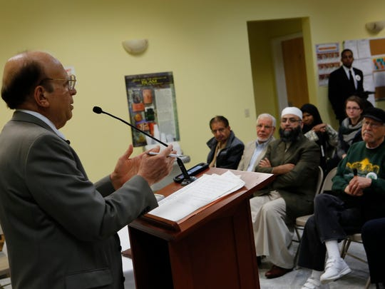 Azeem Farooki, trustee of the Islamic Center of Rockland at a press conference by the Rockland Clergy for Social Justice at the Center in Valley Cottage on Dec. 14, 2015.
