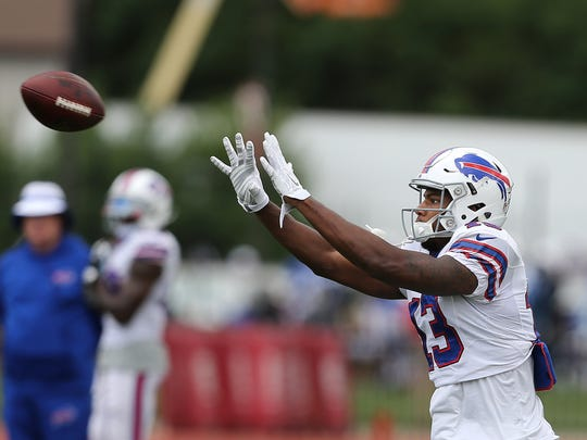 Bills receiver Dezmin Lewis looks to catch a pass during