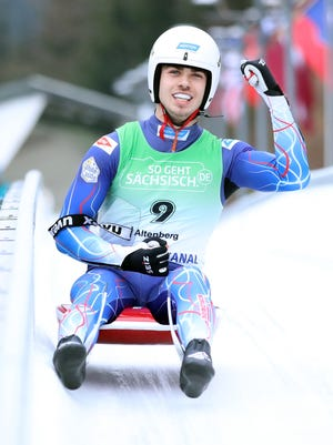 Medway's Zack DiGregorio fist pumps after he sees the scoreboard at the Junior World Cup luge race in Altenberg, Germany, on Dec. 13, 2019. DiGregorio came from behind to place second and earn his first ever international Junior World Cup medal.