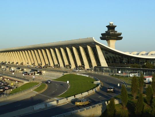 The exterior view of Dulles Airport, one of the Washington,