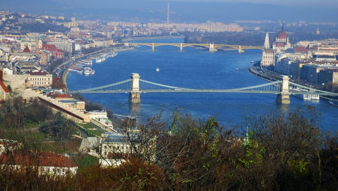 The Danube River cuts through the heart of Budapest, Hungary, the final stop on the cruise.