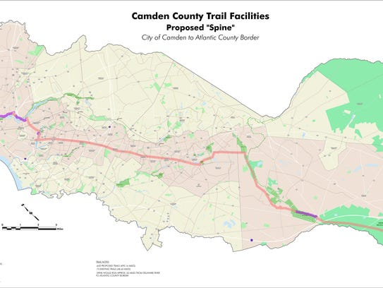 """Camden County Trail Facilities proposed """"spine"""""""