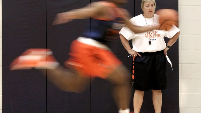 UTEP head women's basketball coach Keitha Adams and the Miners will play the University of New Mexico on Sunday.
