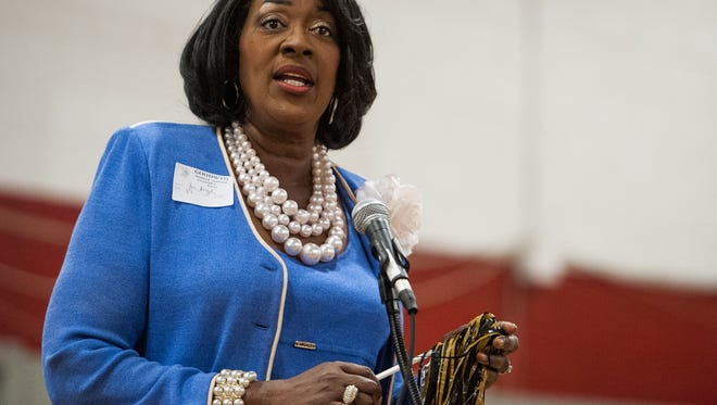 Alabama State president Gwendolyn Boyd Alabama State University president Gwendolyn Boyd speaks to Goodwyn Middle School students during a testing pep rally at the school in Montgomery , Ala. on Thursday April 7, 2016.