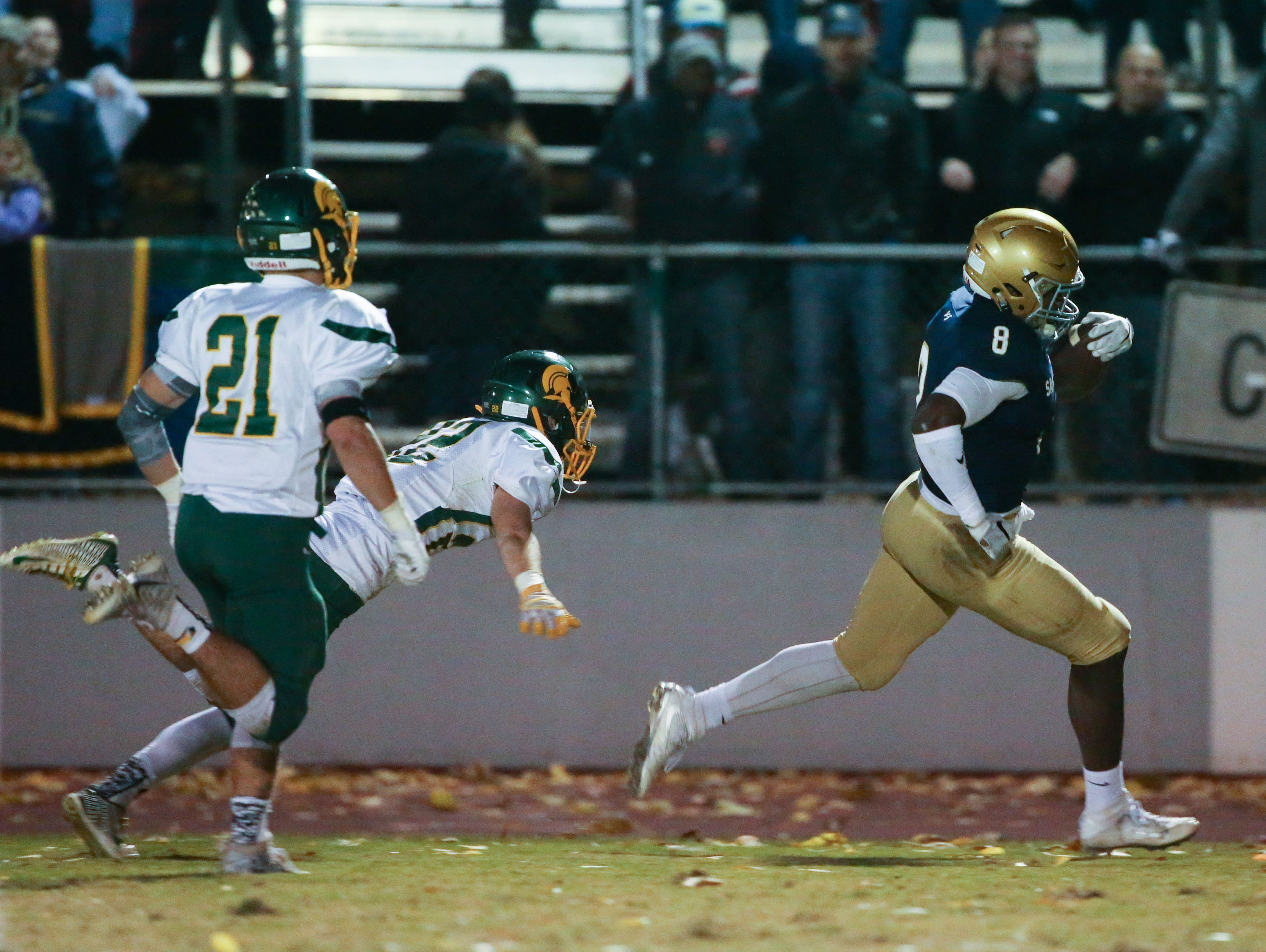 Salesianum running back Joshua Patrick scores in the second quarter to give Salesianum a 20-0 lead against St. Mark's at Baynard Stadium Friday.