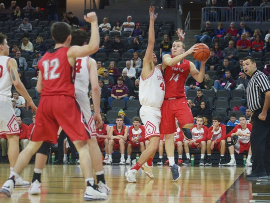 Yankton's Rex Ryken goes against RC Central defense