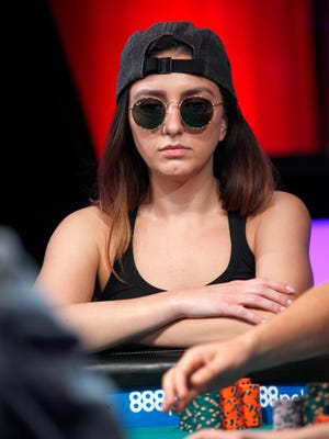 Kelly Minkin is seen during Day 5 of the World Series of Poker Main Event at the ESPN featured table at the Rio All-Suite Hotel & Casino Monday, July 9, in Las Vegas. Minkin grew up in Milwaukee before moving to Arizona when she was a child.