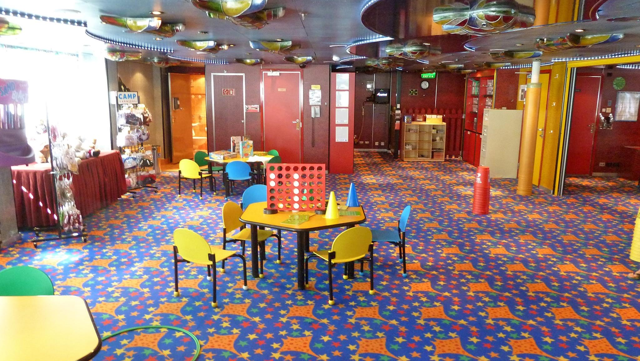 Located on forward Deck 12, Camp Carnival a play area with age-specific activities for kids aged 2-5, 6-8 and 9-11.