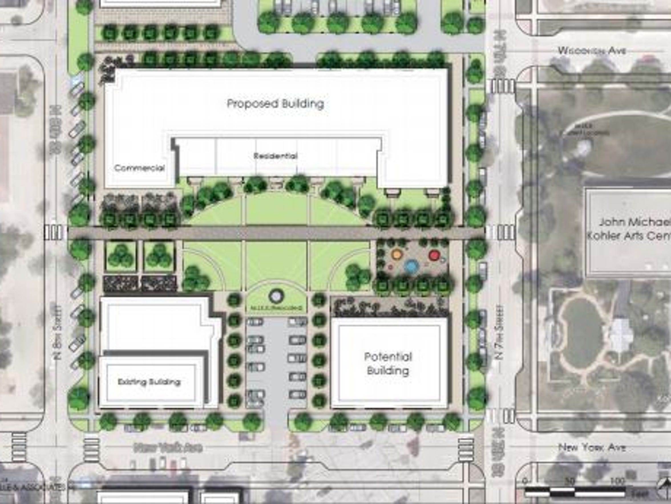 A rendering from Oakbrook Corporation shows a proposed