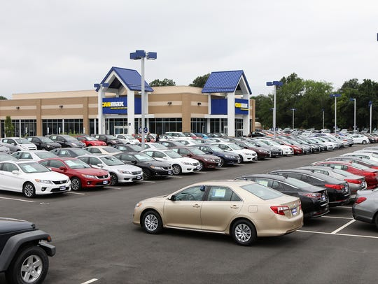 Used cars are shown at the CarMax in Maple Shade.
