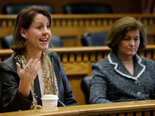State Sens. Ann Rivers, R-La Center, left, and Christine Rolfes, D-Bainbridge Island, held a forum Sunday on Bainbridge to discuss state funding of education.