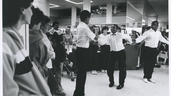 """Breakdancers"" at the Heers Department Store in 1984."