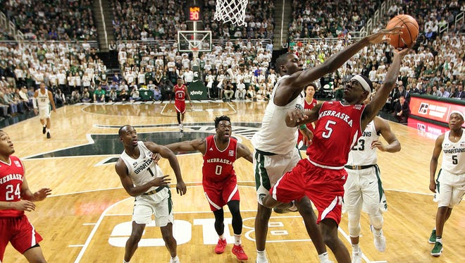 Dec. 3: Nebraska Cornhuskers guard Glynn Watson Jr. (5) has his shot blocked by Michigan State Spartans forward Jaren Jackson Jr. (2) during the second half of a game at Jack Breslin Student Events Center.