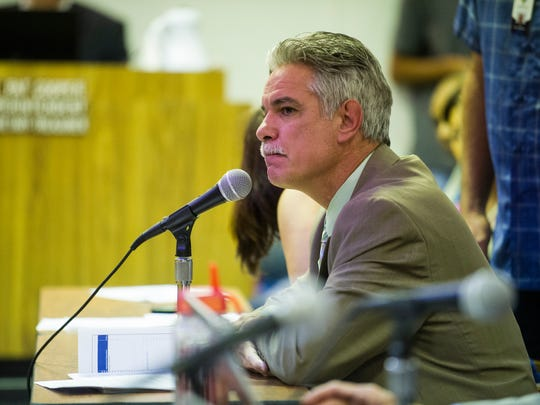 Bradley Cruice, director of health and wellness for the Lafayette Parish School System, answers questions from school board members during a Lafayette Parish School Board meeting in Lafayette, LA, Thursday, June 19, 2014.  Paul Kieu, The Advertiser