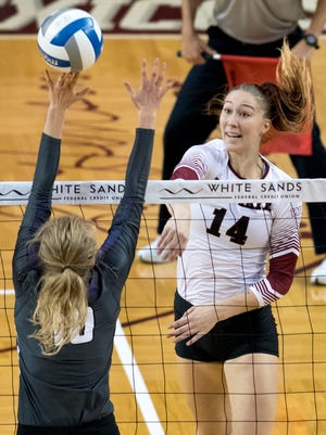 New Mexico State's Kassandra Tohm (14) was named Western Athletic Conference Player of the Week on Monday.