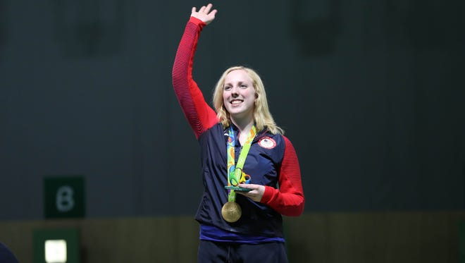 Ginny Thrasher (USA) celebrates winning the gold medal in the 10-meter air rifle competition at Olympic Shooting Centre on Aug, 6,