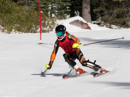 Cooper Laloli of Foothill skies in a slalom race in