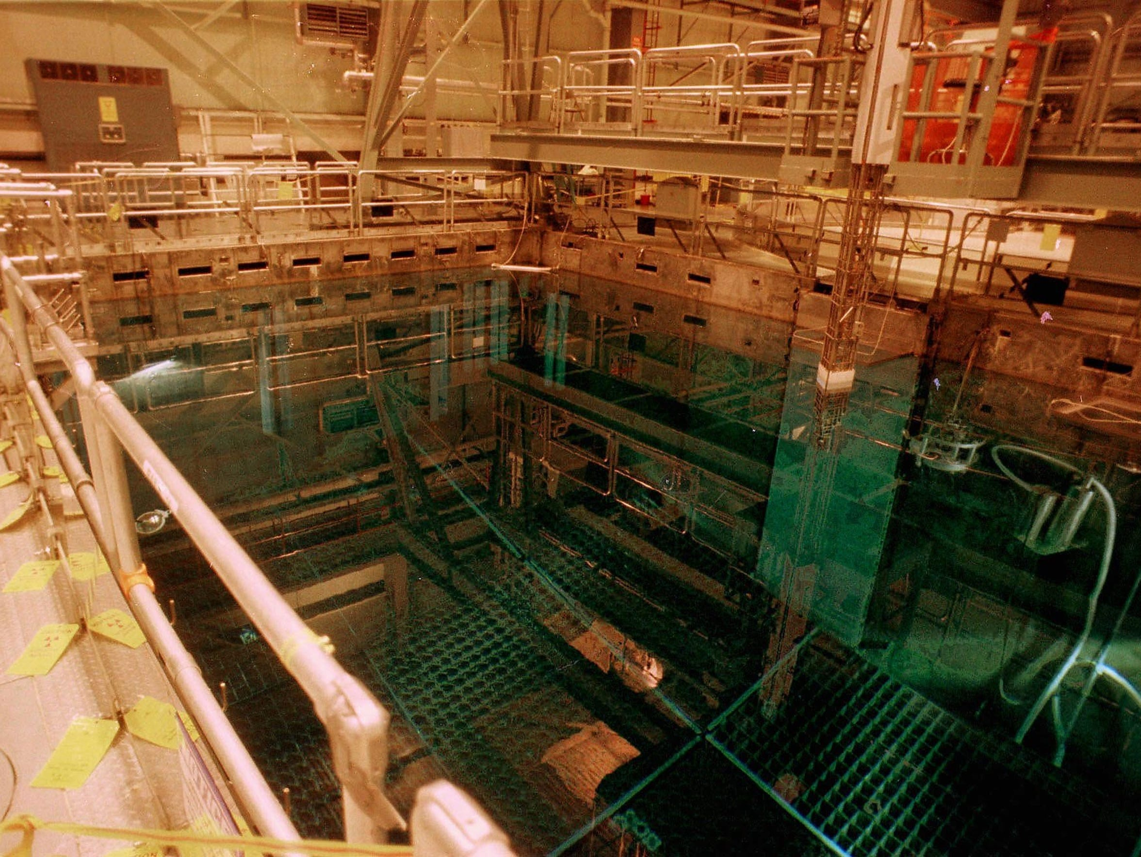 A nuclear fuel storage pool is seen in this December