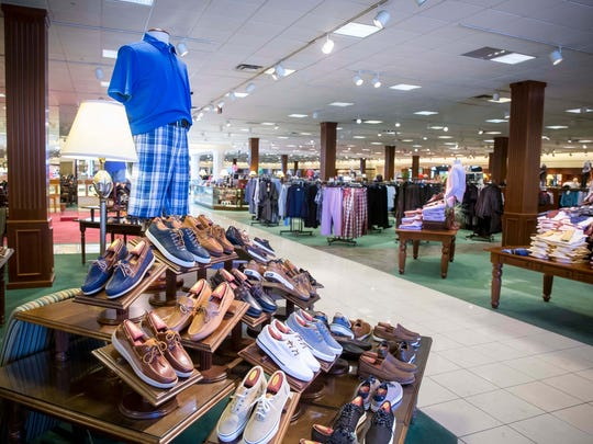 Men's shoe display at the Valley West Mall Von Maur store .Von Maur President Jim von Maur was in West Des Moines Wednesday, Feb. 7, 2018, to make the announcement that they plan to open a store at the Jordan Creek Town Center mall in West Des Moines in 2022.