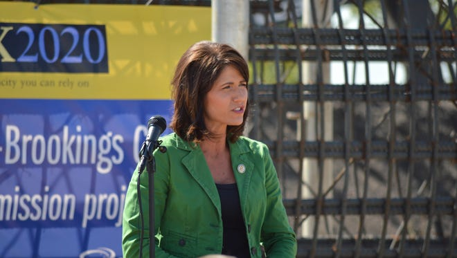 U.S. Rep. Kristi Noem speaks at the ground-breaking event Monday for an energy transmission line between Big Stone City and Brookings.