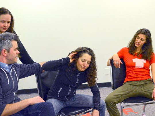 "Left to right, Sarah Venooker, Jory Raphael, Marianne DiMascio and Cael Barkman rehearse for ""Stealing from Work: A Funny Thing Happened on the Way to the Front Porch Forum."""