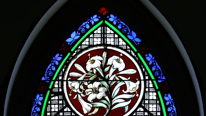 Easter Lily stained glass at the St. John's Episcopal Church.