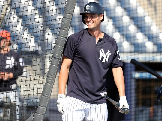 New York Yankees first baseman Greg Bird (33) works out prior to the spring training game against the Detroit Tigers at George M. Steinbrenner Field.