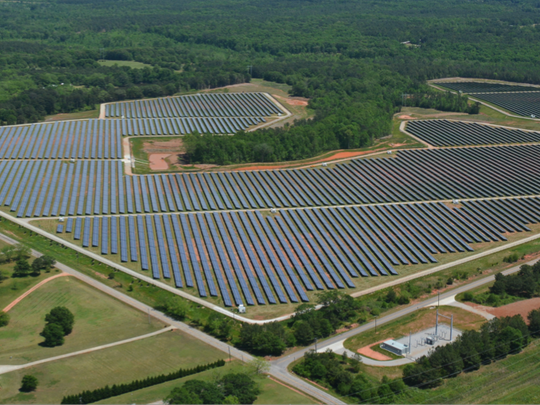 Silicon Ranch's solar farm near Social Circle, Georgia, produces 30 megawatts of power through 130,000 solar panels.