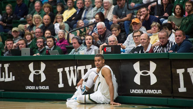 CSU guard Gian Clavell waits to enter the game against Northern Colorado on Saturday at Moby Arena. Clavell returned from a nine-game suspension Saturday.