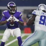 Vikings quarterback Teddy Bridgewater (5) looks to pass against the Cowboys in a Saturday preseason game.