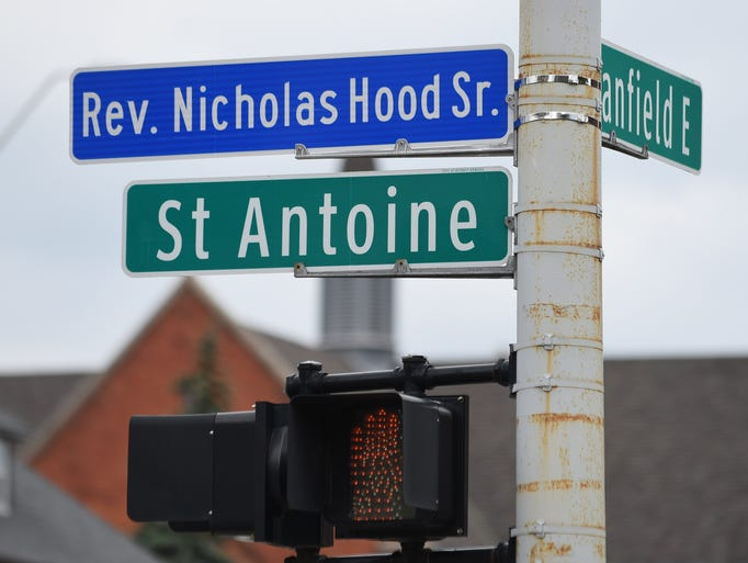 The new street sign at St. Antoine and Canfield, in