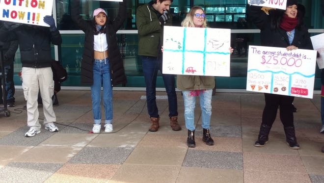 More than 60 students rally against tuition hikes on March 11, 2016, at SUNY Purchase.