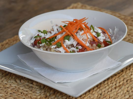 Mediterranean Israeli Couscous Salad, one of the appetizers